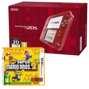 Nintendo 2DS (Transparentni, red) + New Super Mario Bros. 2