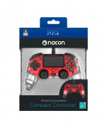 PlayStation 4 (PS4) Nacon Wired Illuminated Compact kontroler (Crveni) PS4