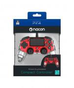 PlayStation 4 (PS4) Nacon Wired Illuminated Compact kontroler (Crveni)