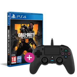 Call of Duty: Black Ops 4 + Nacon kontroler s kablom (crni) PS4