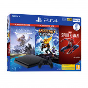 PlayStation 4 (PS4) Slim 500GB + Marvel's Spiderman + Horizon Zero Dawn + Ratchet and Clank (HITS Bundle)